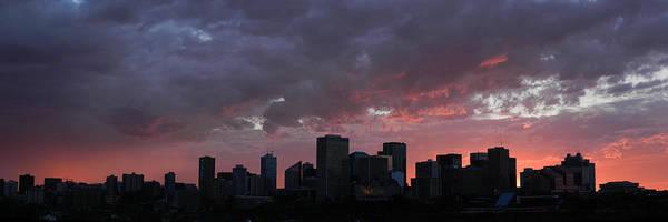 Red Skyline Edmonton Art Print