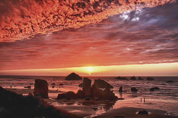 Wall Art - Photograph - Red Sunset At Bandon Oregon by Alvin Kroon