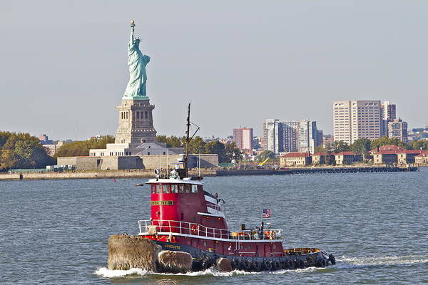 Photograph - Red Tug Three And Liberty by Alice Gipson