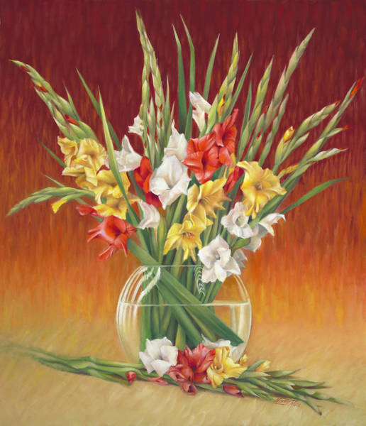 Wall Art - Painting - Red White And Yellow Gladiolus by Nancy Tilles