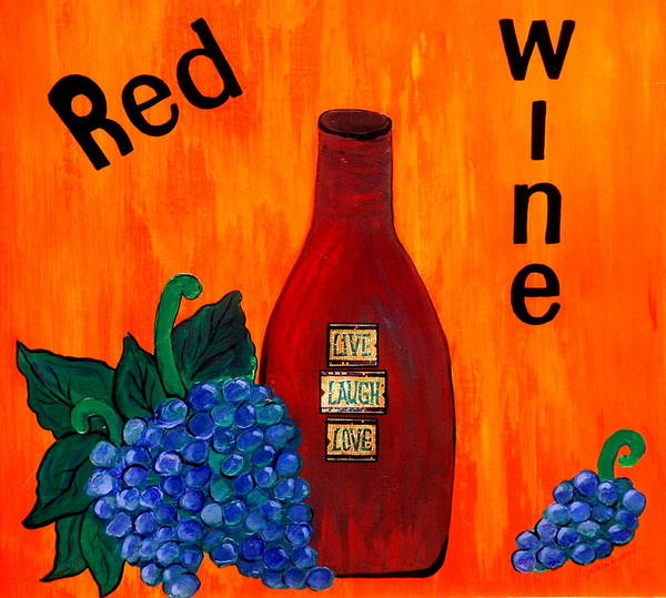 Art Print featuring the painting Red Wine by Cynthia Amaral