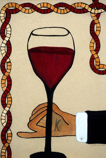 Art Print featuring the painting Red Wine Glass by Cynthia Amaral
