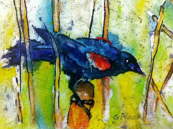 Bullrush Painting - Red Winged Blackbird by Gloria Avner