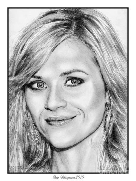 Wall Art - Drawing - Reese Witherspoon In 2010 by J McCombie