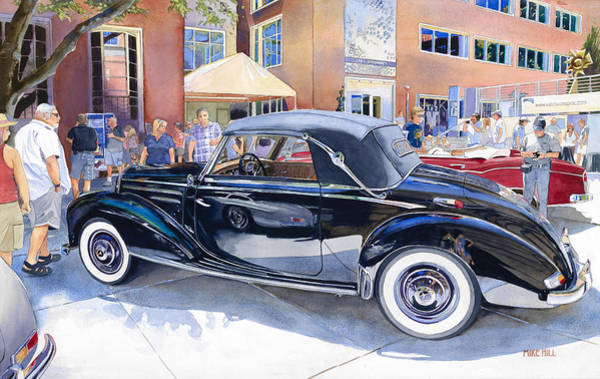 Car Show Painting - Reflecting On A Mercedes by Mike Hill