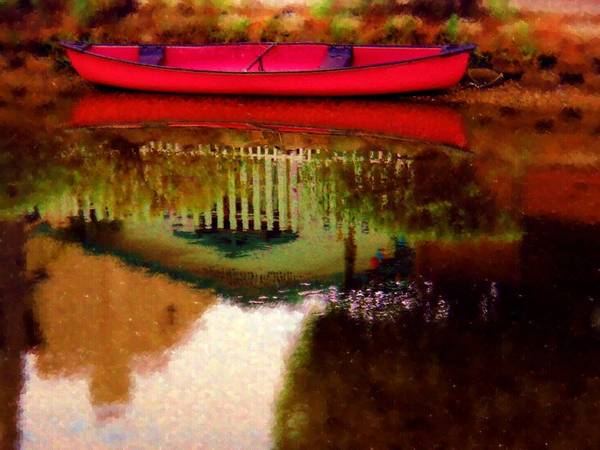 Wall Art - Photograph - Reflection Of A Red Canoe On Venice Canal No. 1 by Eve Paludan