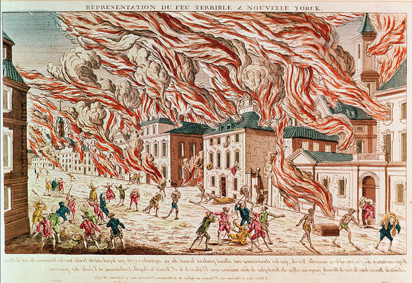 Representation Painting - Representation Of The Terrible Fire Of New York by French School