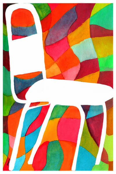 Pink Wall Art - Painting - Retro Dinette Chair by Paula Ayers