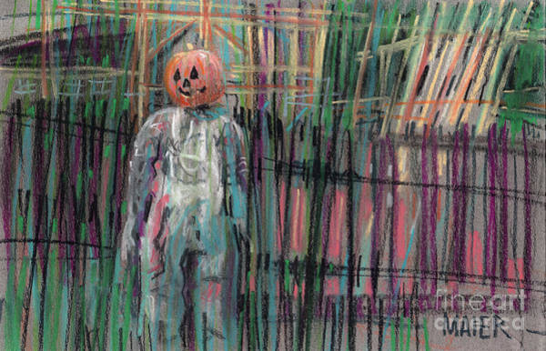 Pastel Drawing Painting - Return Of Pumpkinhead Man by Donald Maier