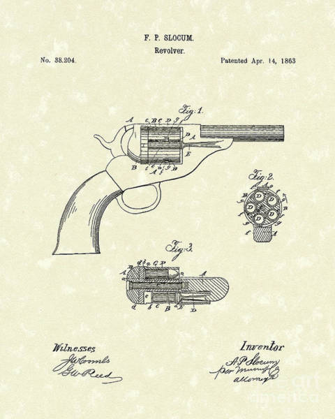 Drawing - Revolver 1863 Patent Art by Prior Art Design