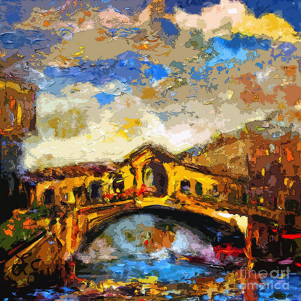 Mixed Media - Rialto Bridge Venice Abstract Decorative Art by Ginette Callaway