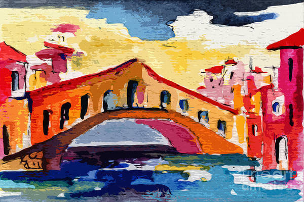 Painting - Rialto Bridge Venice Italy by Ginette Callaway
