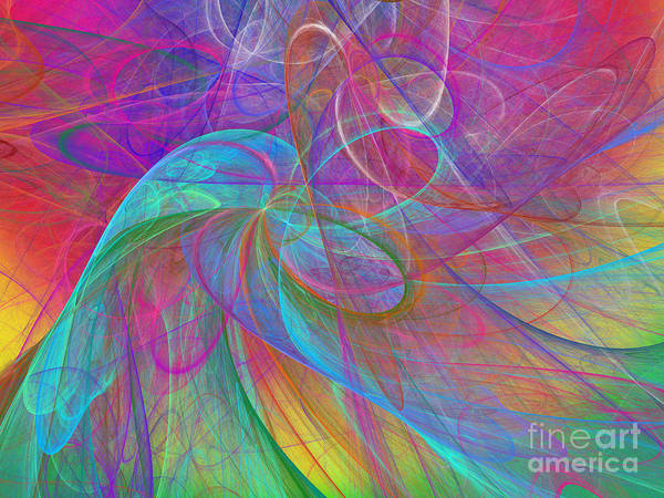 Pleasing Digital Art - Ribbons Of The Rainbow by Andee Design