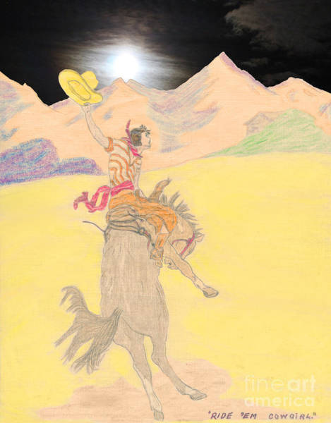 Drawing - Ride 'em Cowgirl by Donna L Munro