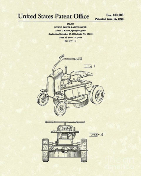 Lawn Wall Art - Drawing - Riding Power Lawn Mower Patent Art  by Prior Art Design