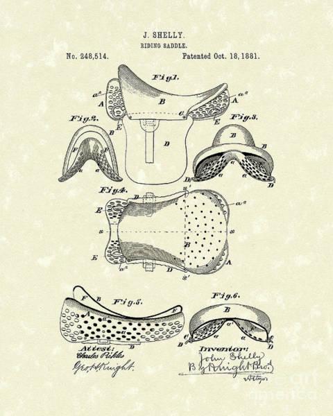 Horseback Drawing - Riding Saddle 1881 Patent Art by Prior Art Design