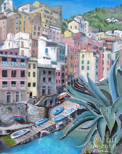 Holly Brannan Wall Art - Painting - Riomaggiore - The First Stop by Holly Bartlett Brannan