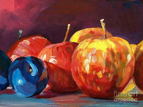 Red Apples Painting - Ripe Plums And Apples by David Lloyd Glover