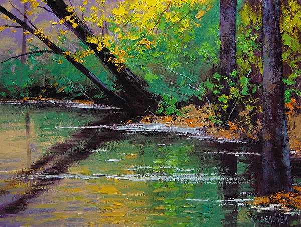 Reflections Painting - River Bank by Graham Gercken