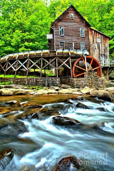 Photograph - River Rock And A Grist Mill by Adam Jewell