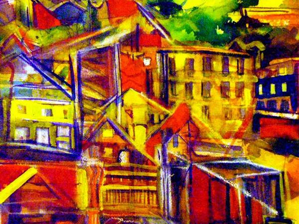 Wall Art - Painting - River Town Cincinnati Ohio by Mindy Newman