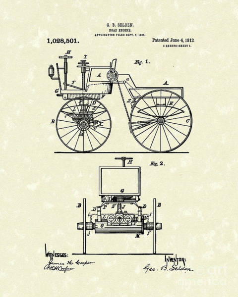 Wall Art - Drawing - Road Engine 1912 Patent Art by Prior Art Design