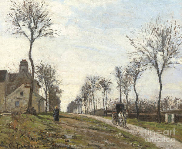 Avenue Painting - Road In Louveciennes by Camille Pissarro