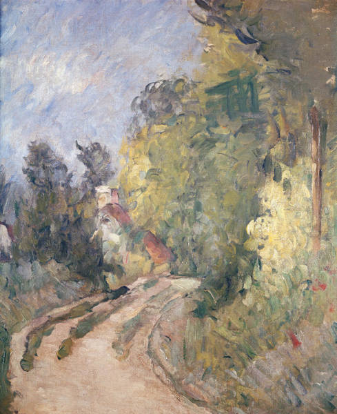 Turning Painting - Road Turning Under Trees by Paul Cezanne