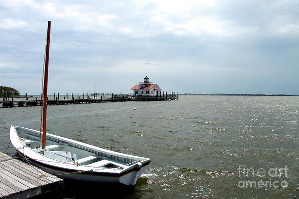 Roanoke Marshes Light Wall Art - Photograph - Roanoke Marshes Light And Boat by Christiane Schulze Art And Photography