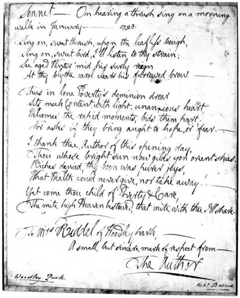 Cursive Photograph - Robert Burns Sonnet, 1793 by Granger