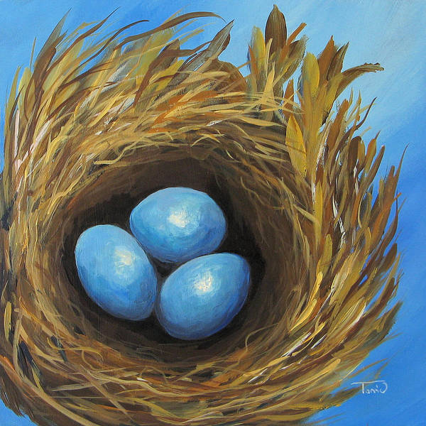 Bird Wall Art - Painting - Robin's Three Eggs Iv by Torrie Smiley
