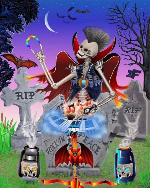 Gargoyle Digital Art - Rock In Peace by Glenn Holbrook