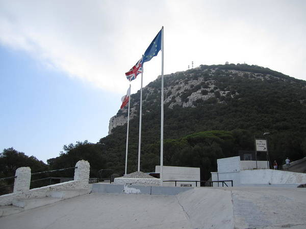 Photograph - Rock Of Gibraltar Top Uk British Flag by John Shiron
