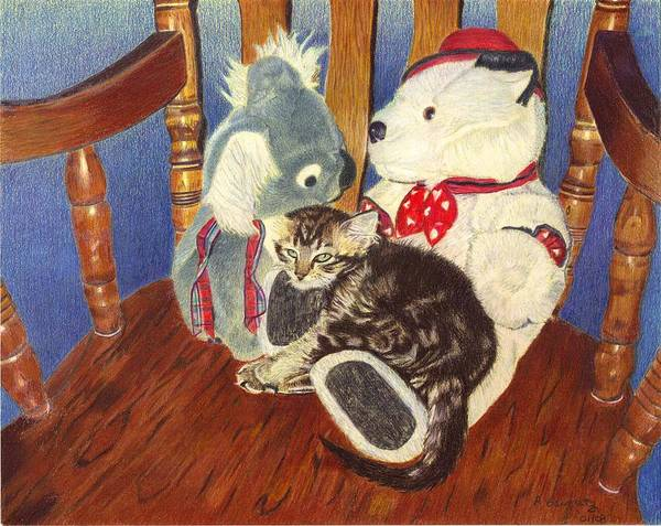 Painting - Rocking With Friends - Kitten And Stuffed Animals Painting by Patricia Barmatz