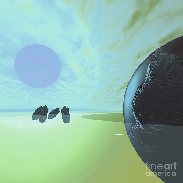 Digital Art - Rocky Asteroids Are Caught In The Ring by Corey Ford