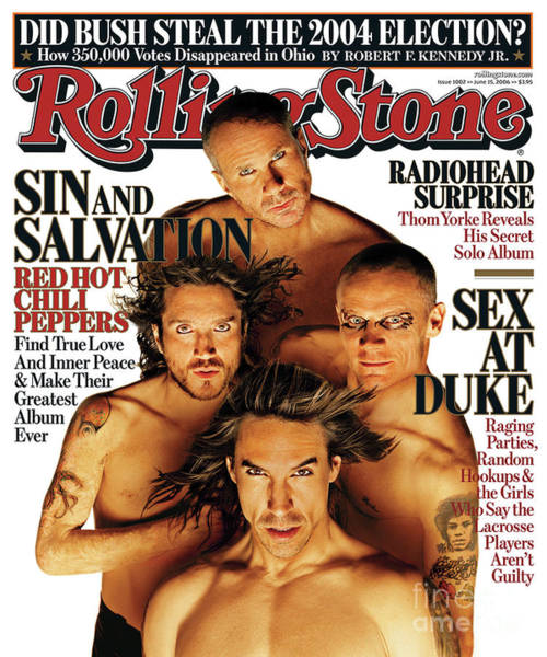 Wall Art - Photograph - Rolling Stone Cover - Volume #1002 - 6/15/2006 - Red Hot Chili Peppers by Matthew Rolston