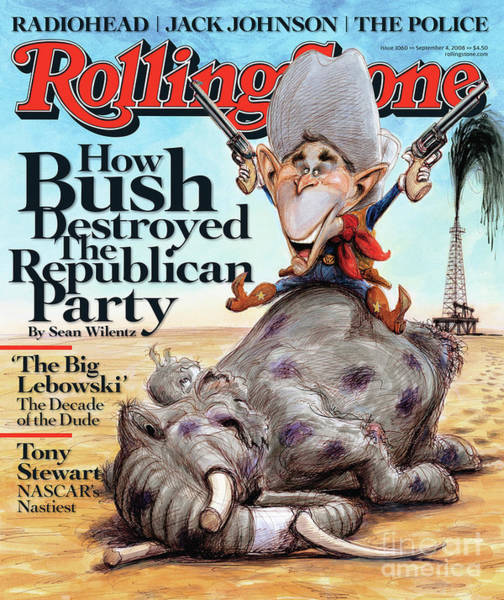 Bushes Photograph - Rolling Stone Cover - Volume #1060 - 9/4/2008 - George W. Bush by Victor Juhasz