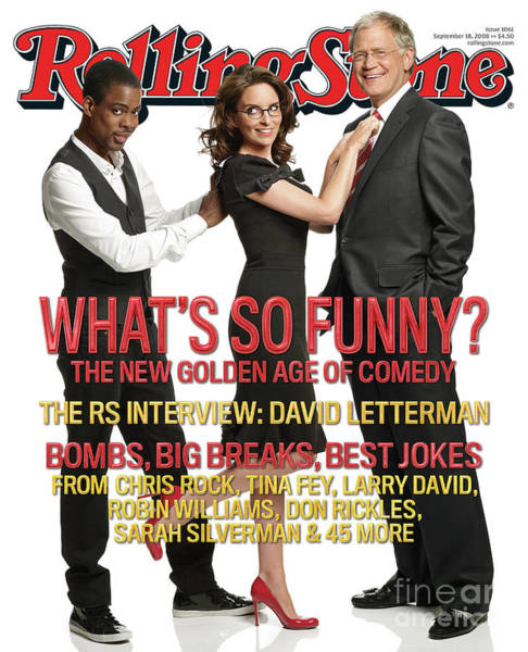 Sarah Photograph - Rolling Stone Cover - Volume #1061 - 9/18/2008 - Chris Rock, Tina Fey, Sarah Silverman by Robert Trachtenberg