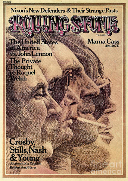 Roll Photograph - Rolling Stone Cover - Volume #168 - 8/29/1974 - Crosby, Still, Nash And Young by Dugard Stermer