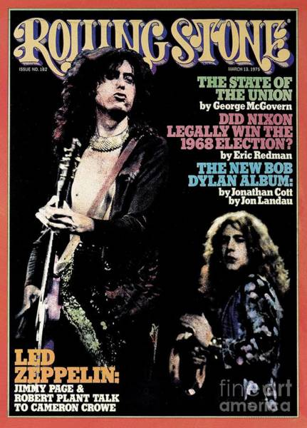 Page Wall Art - Photograph - Rolling Stone Cover - Volume #182 - 3/13/1975 - Jimmy Page And Robert Plant by Neal Preston