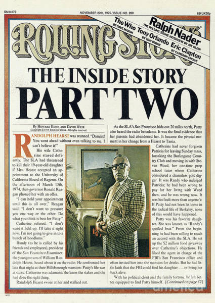 Parts Photograph - Rolling Stone Cover - Volume #200 - 11/20/1975 - The Patty Hearst Story, Part Two by Tony Lane