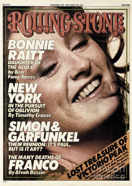 Wall Art - Photograph - Rolling Stone Cover - Volume #202 - 12/18/1975 - Bonnie Raitt by Bill King