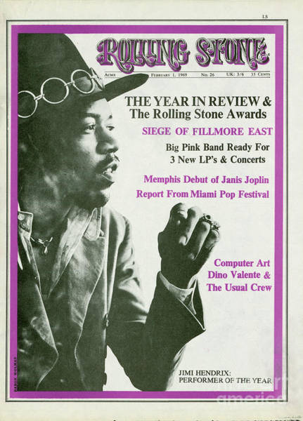 Wall Art - Photograph - Rolling Stone Cover - Volume #26 - 2/1/1969 - Jimi Hendrix by Baron Wolman
