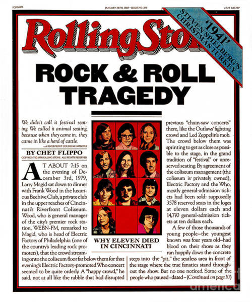 Concert Photograph - Rolling Stone Cover - Volume #309 - 1/24/1980 - The Who Concert Tragedy by Unknown