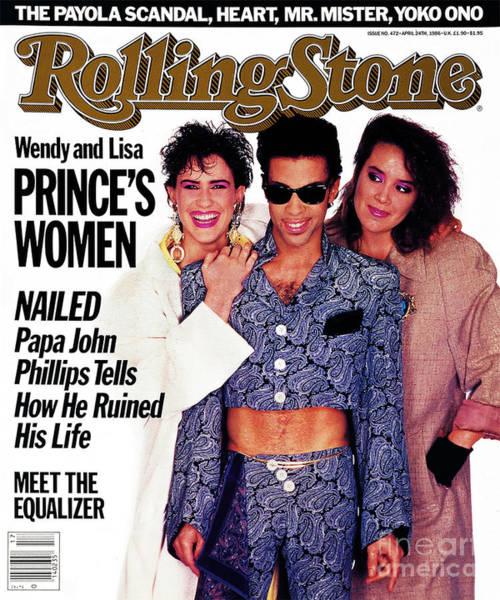 With Wall Art - Photograph - Rolling Stone Cover - Volume #472 - 4/24/1986 - Prince With Lisa And Wendy by Jeff Katz