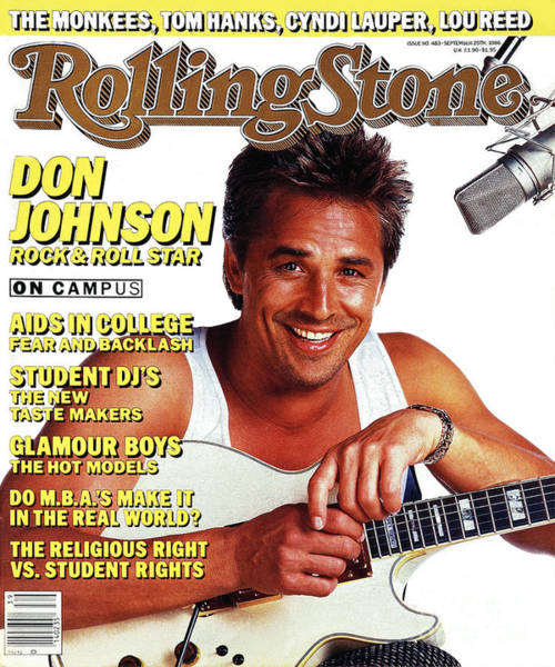 Don Photograph - Rolling Stone Cover - Volume #483 - 9/25/1986 - Don Johnson by E.J. Camp