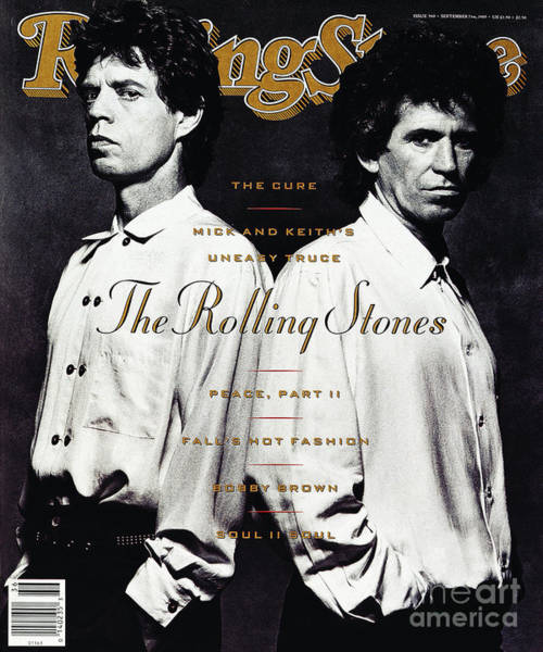 Mick Jagger Photograph - Rolling Stone Cover - Volume #560 - 9/7/1989 - Mick Jagger And Keith Richards by Albert Watson