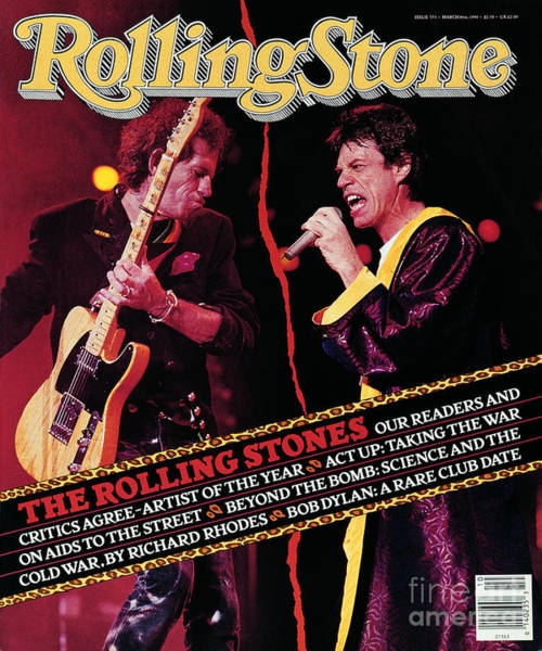Mick Jagger Photograph - Rolling Stone Cover - Volume #573 - 3/8/1990 - Mick Jagger And Keith Richards by Neal Preston