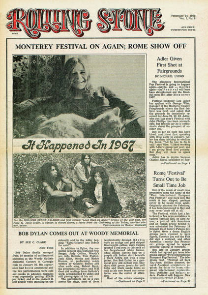 Janis Joplin Photograph - Rolling Stone Cover - Volume #6 - 2/24/1968 - Janis Joplin by Baron Wolman