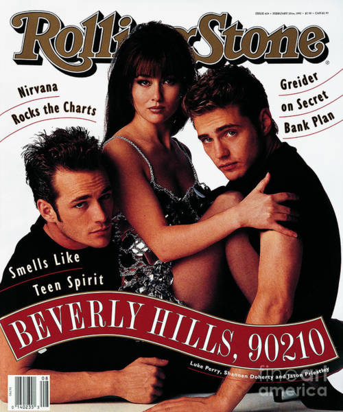 Cast Photograph - Rolling Stone Cover - Volume #624 - 2/20/1992 - Cast Of Beverly Hills 90120 by Andrew Eccles